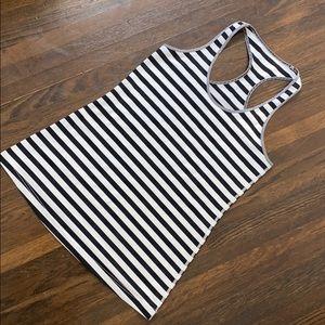 Lululemon black and white stripe tank